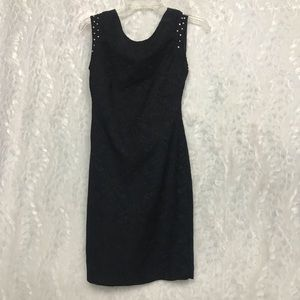 Zara Black Jacquard Dress Large Jeweled Sleeves